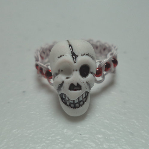 Halloween Skull Bead Red Beaded Macrame Wire Ring - Size 9
