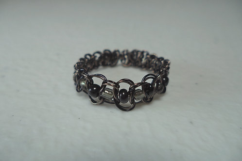 Black Beaded Wire Ring - Size 6.5
