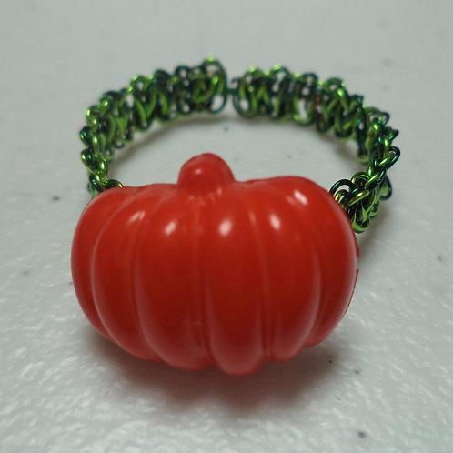Halloween Pumpkin Bead Green Macrame Wire Ring - Size 11.5
