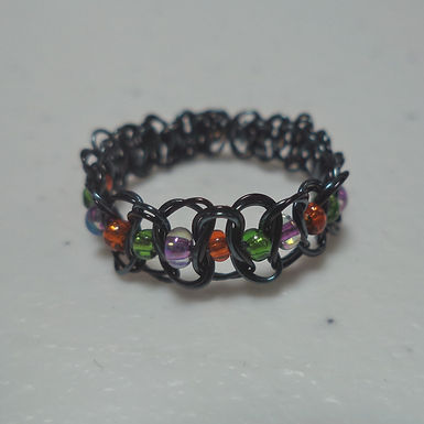 Halloween Beaded Wire Ring - Size 7