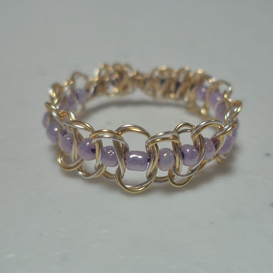 Gold & Lilac Beaded Wire Ring - Size 10