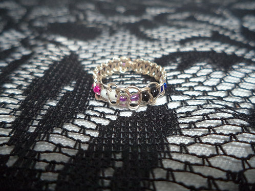 Genderfluid Beaded Wire Ring - Size 8