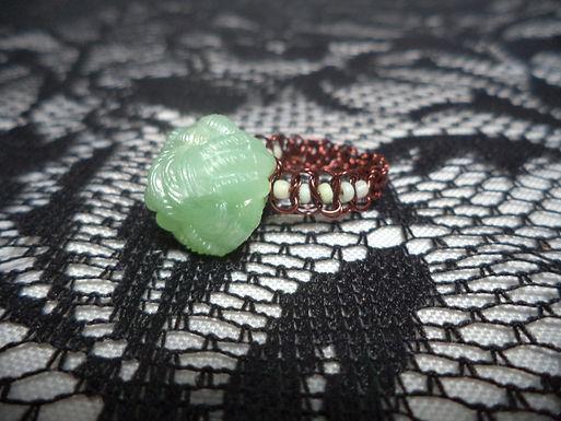 Mint Yarn Bead Mint Beaded Macrame Wire Ring - Size 8