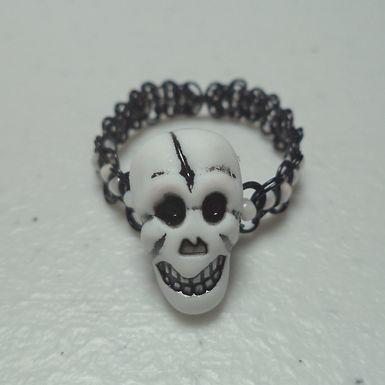 Halloween Skull Bead White Beaded Macrame Wire Ring - Size 11