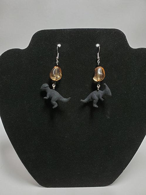 Hand Painted Amber/Black Beaded Dinosaur Dangle Earrings