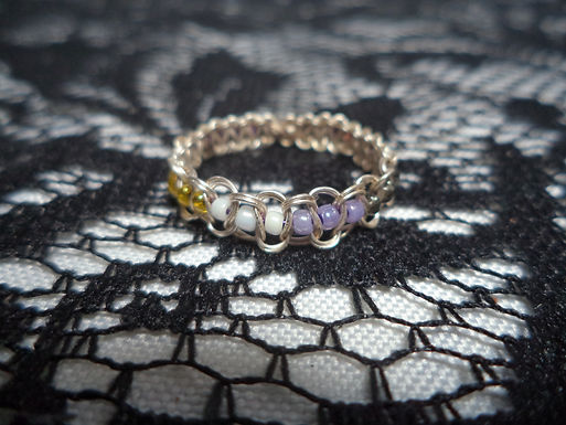 Nonbinary Beaded Wire Ring - Size 12