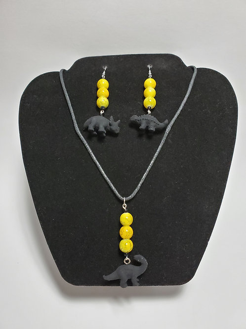 Hand Painted Yellow/Black Beaded Dinosaur Earring & Necklace Set