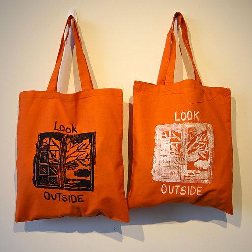 'Look Outside' Tangerine Tote