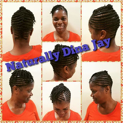 Flat Twist updo with individual two strand twists #naturalhair #naturallydinajay #flattwist #twostra