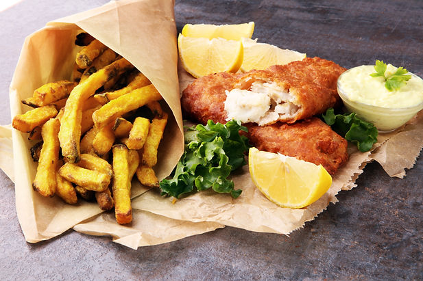 traditional British fish and chips on gr