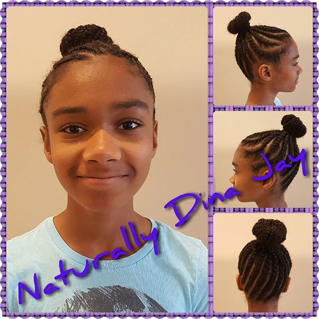 Cornrows into a bun #backtoschool #naturalhair #dennaj #dmv #hnsnaturals #naturallydinajay #kids #ki