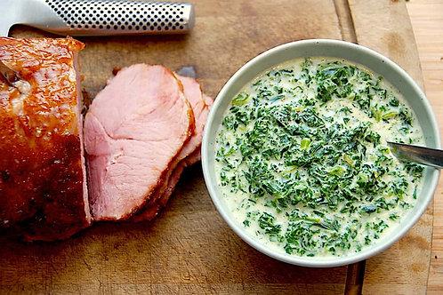 Glaseret skinke med grønlangkå