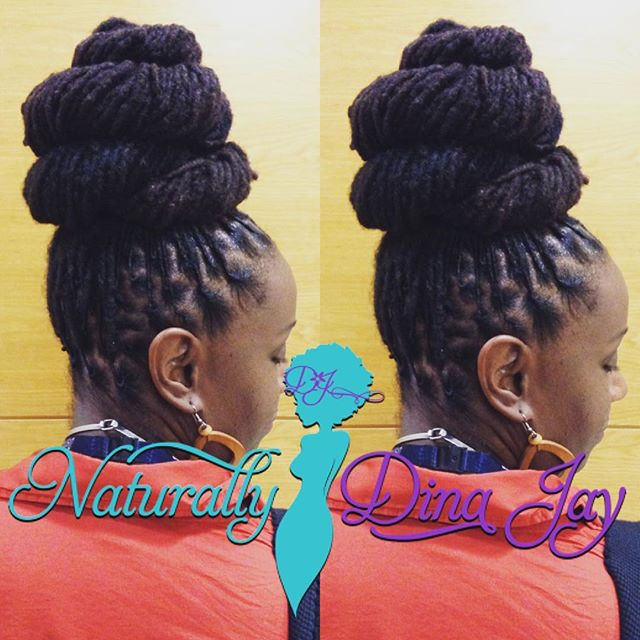 Long Locs in a high layered bun_Book Onl