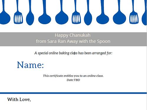 Chanukah Gift Certificate