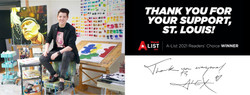 """Thank you to everyone who voted for me to win St Louis Magazine's 2021 A List for """"Best Fine Artist"""""""