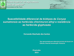 Suscetibilidade diferencial de biótipos de Conyza sumatrensis ao herbicida chlorimuron-ethyl e resistência ao herbicida glyphosate