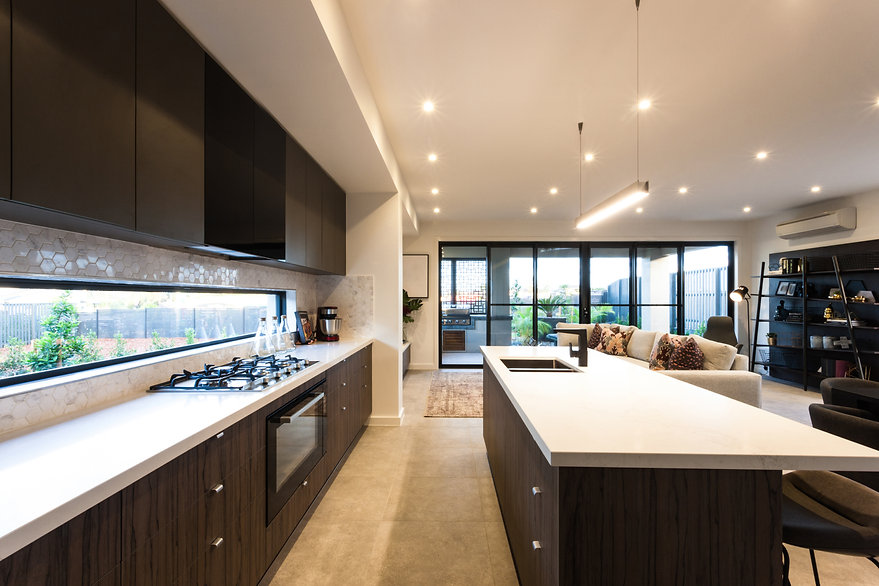 Modern kitchen illuminated with ceiling