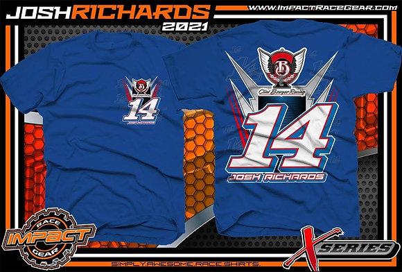 2021 Josh Richards Royal Blue No. 14 T-Shirt
