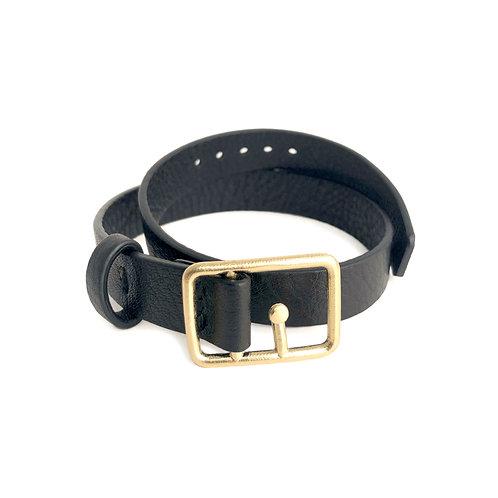Sasha Leather Bracelet Black & Gold
