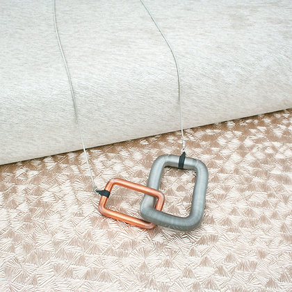 Rectangles Pendant Rose Gold & Silver