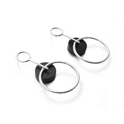 Alicia Large Earrings Silver & Black