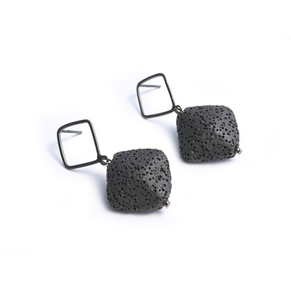 Flure Earrings Black and Gunmetal