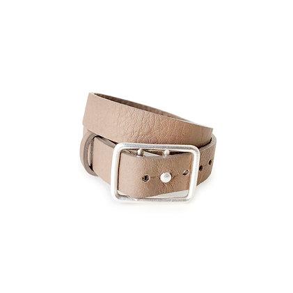 Sasha Leather Bracelet Mink & Silver