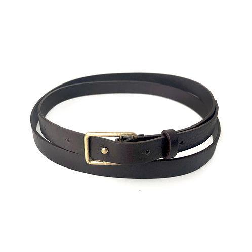 Sasha Thin Leather Belt Brown & Gold