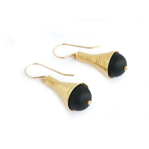 Dalia Earrings Gold & Black