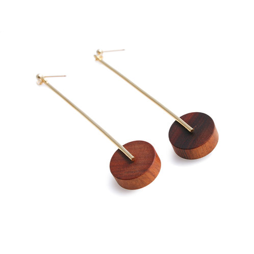 Kasia Large Earrings Gold & Wood