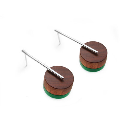 Kasia Small Earrings Silver, Wood & Green