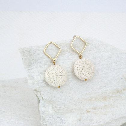 Coin White Lava Earrings
