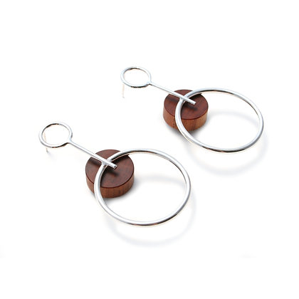 Alicia Large Earrings Silver & Wood