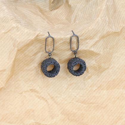 Loop Black Lava Earrings