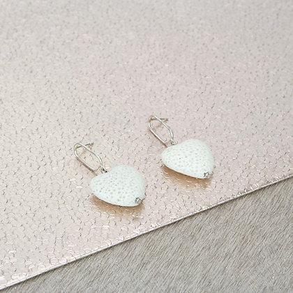 White Lava Heart Earrings | Silver hanger