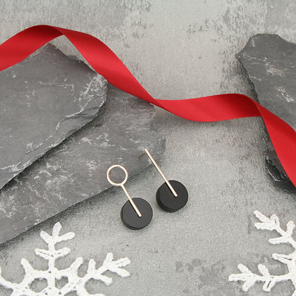 Kasey Small Earrings Silver & Black