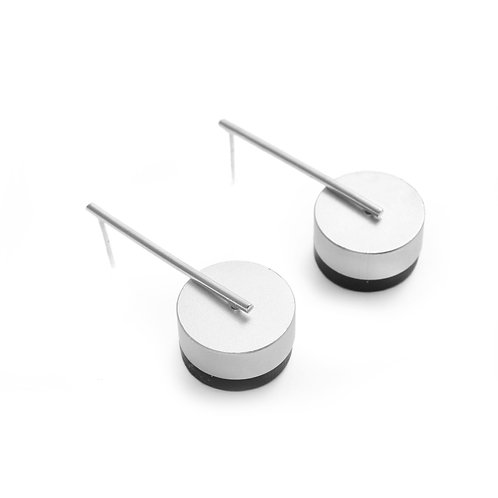 Kasia Small Earrings Silver & Silver/Black