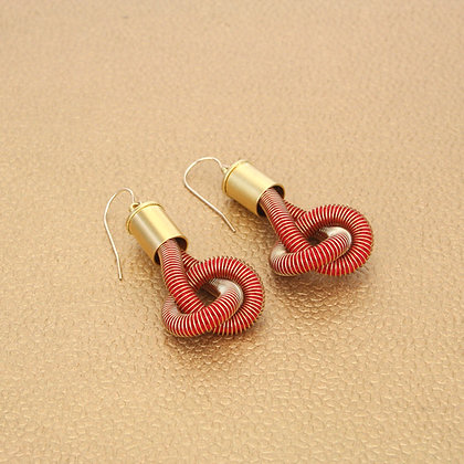 Anna Earrings Red w Gold caps