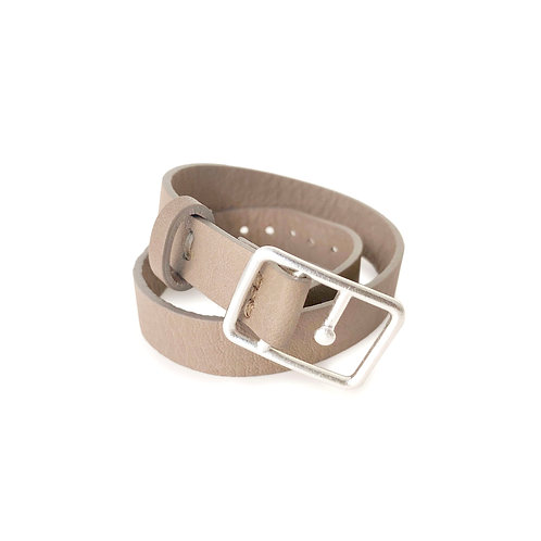 Sasha Leather Bracelet Mink & Silver