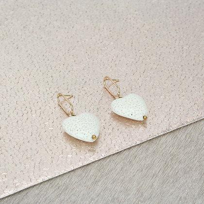 White Lava Heart Earrings | Gold hanger