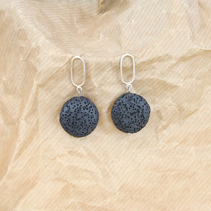 Coin Black Lava Earring