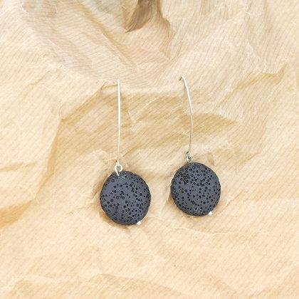 Coin Black Lava Earrings
