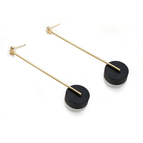 Kasia Large Earrings Gold & Black/Frost