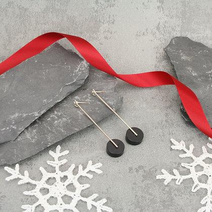 Kasia Large Earrings Silver & Black