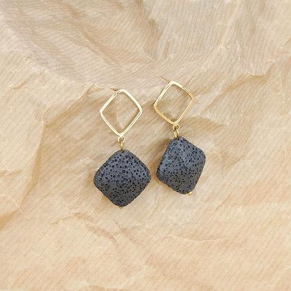 Diamond Black Lava Earring