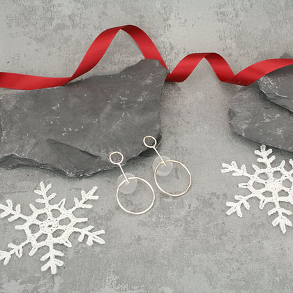 Alicia Large Earrings Silver & Frost