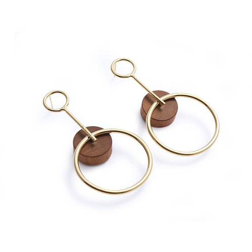 Alicia Large Earrings Gold & Wood