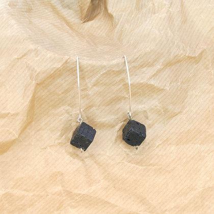 Cube Black Lava Earrings