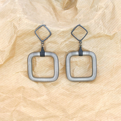 Square Earrings Silver