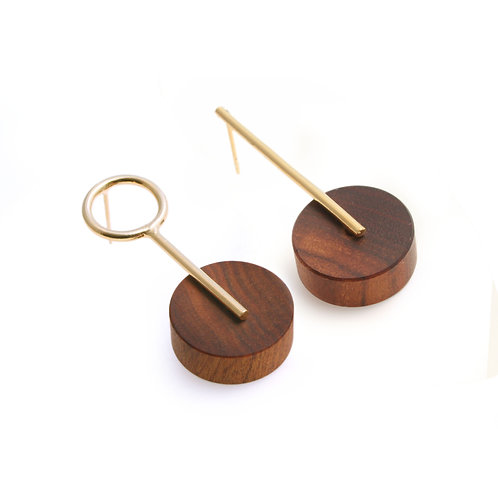 Kassandra Earrings Gold & Wood